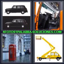4 fotos 1 Palabra - 6 letras: auto negro Coche negro Grua amarilla Telefono londinense |