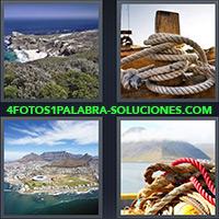 4 Fotos 1 Palabra - Cuerda atada en muelle o amarradero |