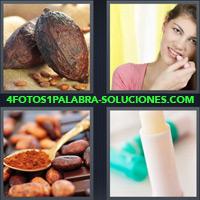 Mujer con pintalabios, Fruto, Semilla, Barra labial, Cuchara con Granos |