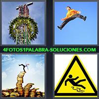 4 Fotos 1 Palabra - Señal de precaución resbalar |