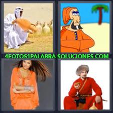 4 fotos 1 Palabra - 6 letras: arabe con jarron Dibujo o caricatura Hombre vestido de rojo con sombrero de piel Mujer vestida de naranja |