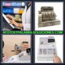 4 Fotos 1 Palabra - 4 Letras: Cajera, Calculadora, Persona Cobrando En Tienda, Caja Registradora Antigua. |