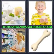 4 fotos 1 Palabra - 6 letras: queso leche Hueso Mujer comprando Niño tomando leche Productos lácteos |