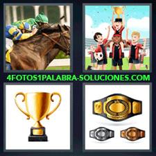 4 Fotos 1 Palabra - carrera de caballos Cinturón de ganadores copa Entrega medallas |