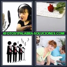 4 Fotos 1 Palabra - coro niña cantando Dibujo personas cantando Mujer y hombre con guitarra Partituras y rosa roja |