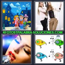 4 fotos 1 Palabra - 6 letras: musica Dibujo invierno Dibujo radios musica Mujeres cantando |