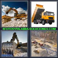 4 Fotos 1 Palabra - Camión amarillo descargando Montaña con tractores y maquinaria trabajando Retroexcavadora echando tierra en camión Tractor trabajando |