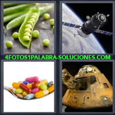 4 Fotos 1 Palabra - Aparato espacial Pastillas Satélite Vaina con frutos como guisantes |