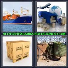 4 Fotos 1 Palabra - Barco De Mercancías, Medios De Transporte, Pallet Con Cajas, Bicicleta Transportando Con Alforjas |