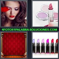 Chica mirando hacia abajo, Lápiz labial y maquillajes, Telón rojo de teatro, Lapices labiales