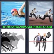 4 Fotos 1 Palabra - Dibujo de carrera de caballos Ejecutivos corriendo Pareja de negocios llegando a la meta Persona nadando |
