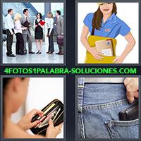 Personas en la oficina, Mujer con bolso, Mujer con monedero, Persona guardando billetera