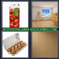 Envase de Tetra-Brik, Habitación Con escalera y ventana, Maple con Huevos, Pedazo de Cartón.