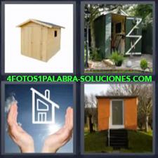 4 fotos 1 Palabra - 6 letras: Casita de madera Dibujo casa entre manos Refugio en el bosque |