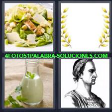 4 Fotos 1 Palabra - Ensalada Bote O Recipiente De Cristal Con Salsa Corona De Laureles Dibujo De Señor Romano |