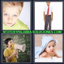 4 Fotos 1 Palabra - Niño Rubio Bebe En La Cama Niño Con Megáfono Niño Con Traje |