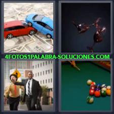 4 fotos 1 Palabra - 6 letras: Coches juguete sobre dinero Copas de vino Mesa y bolas de billar |