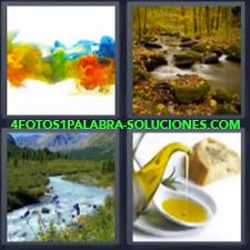 4 fotos 1 Palabra - 6 letras: Aceite de oliva u olivo y pan Mezcla de pinturas diferentes colores Rios |