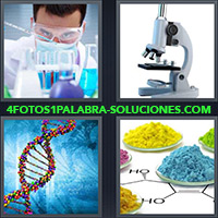 Científico trabajando en laboratorio, Microscopio, Hélice de ADN, Compuestos químicos, HO