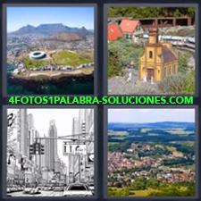 Vista aérea con montañas, Iglesia o Catedral, Ciudad o centro urbano, Vista aérea.