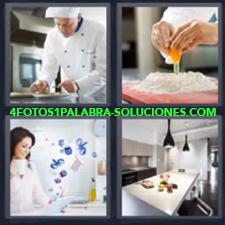 Chef en la cocina, Manos echando un huevo sobre harina, Mujer con taza en la mano
