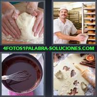 Manos amasando una masa, Harina, Panadero horneando, Chocolate en un bowl, Batidor, Figuritas con Masas, Palo de amasar |