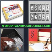Paquete de Correo, Números, Combinación, Teclado de Cajero Automático, Mano firmando un papel |