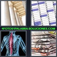 Columnas de un edificio, Calendario, Rayos X, Columna vertebral, Pila de diarios o periódicos