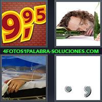 4 Fotos 1 Palabra - Hombre durmiendo con botella vacía |