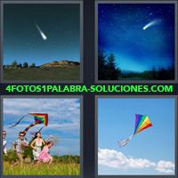Bola de Luz cayendo desde el cielo, Estrella Fugaz, Niños jugando, Volantín, Barrilete, Papalote |