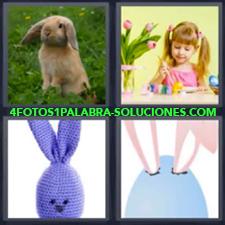 4 fotos 1 Palabra - 6 letras: liebre niña pintando Dibujo orejas animal |