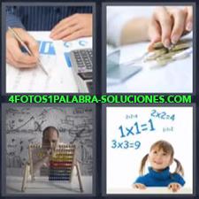 4 fotos 1 Palabra - 6 letras: Calculadora cuentas Llevando las cuentas con un ábaco Niña multiplicando |