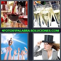 Copas con vino tinto, champagne, Manos en alto sosteniendo trofeo, Mujer con sombrero