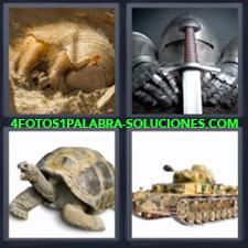 4 fotos 1 Palabra - 6 letras: armadillo tortuga Armadura y espada Tanque |
