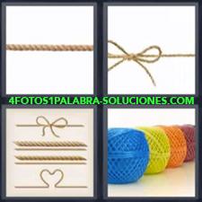 4 fotos 1 Palabra - 6 letras: Cuerda con lazo Diferentes formas con cuerdas Ovillos de cuerdas de colores |