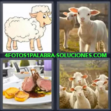 4 Fotos 1 Palabra - Dibujo de oveja Ganado Ovejitas pequeñas Plato de carne y patatas o papas |