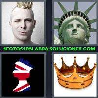 Rey, Estatua de la Libertad, Corona, Silueta con la Bandera de Inglaterra o Reino Unido, Corona Dorada |