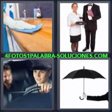 4 fotos 1 Palabra - 6 letras: Chofer Limpiando encimera Mujer y hombre del servicio Paraguas |