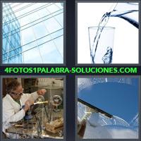 Edificio de Vidrio, Jarra sirviendo agua en vaso, Hombre artesano trabajando con vidrio, Limpiando ventana |