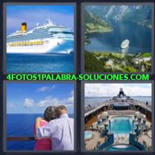 4 Fotos 1 Palabra - barco pareja Barco por fiordos Crucero Trasatlántico |