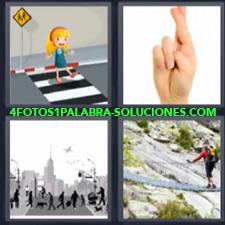 4 fotos 1 Palabra - 6 letras: Dibujo niña paso de peatones Mano con dedos cruzados Puente colgante |