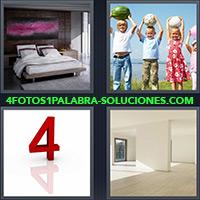 Alcoba con cama matrimonial, Grupo de niños con objetos sobre sus cabezas, Número 4 color rojo
