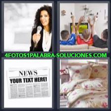 4 fotos 1 Palabra - 6 letras: Cama Familia viendo television Periódico Periodista con microfono |