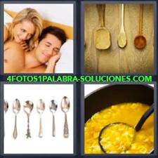 4 Fotos 1 Palabra - Cucharas de madera Cucharas metálicas Pareja en la cama Recipiente con comida |