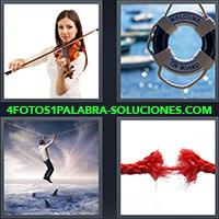 4 Fotos 1 Palabra - Mujer con violín, Salvavidas, Soga |