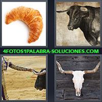 Medialuna o croissant, Toro con grandes cuernos, Torero tomando por sus cuernos a un toro