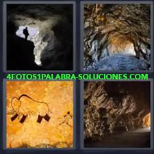 4 Fotos 1 Palabra - Caverna Gruta Montaña Tunel |