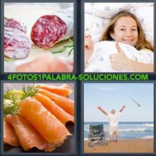 4 fotos 1 Palabra - 6 letras: Mujer en la cama con termómetro en la mano y levantando el pulgar ok salchichon o fuet Salmon en lonchas Señor en la playa levantado de silla de ruedas |