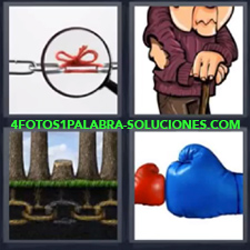 4 Fotos 1 Palabra - Guantes Cadena Con Lazo Dibujo Vagabundo Guantes Azul Y Rojo |