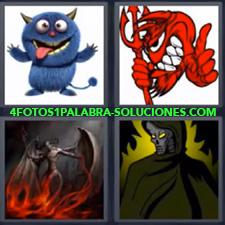 4 Fotos 1 Palabra - Dibujo de especie de gato azul Dibujo de miedo Dibujo rojo con tridente Ser demoniaco |